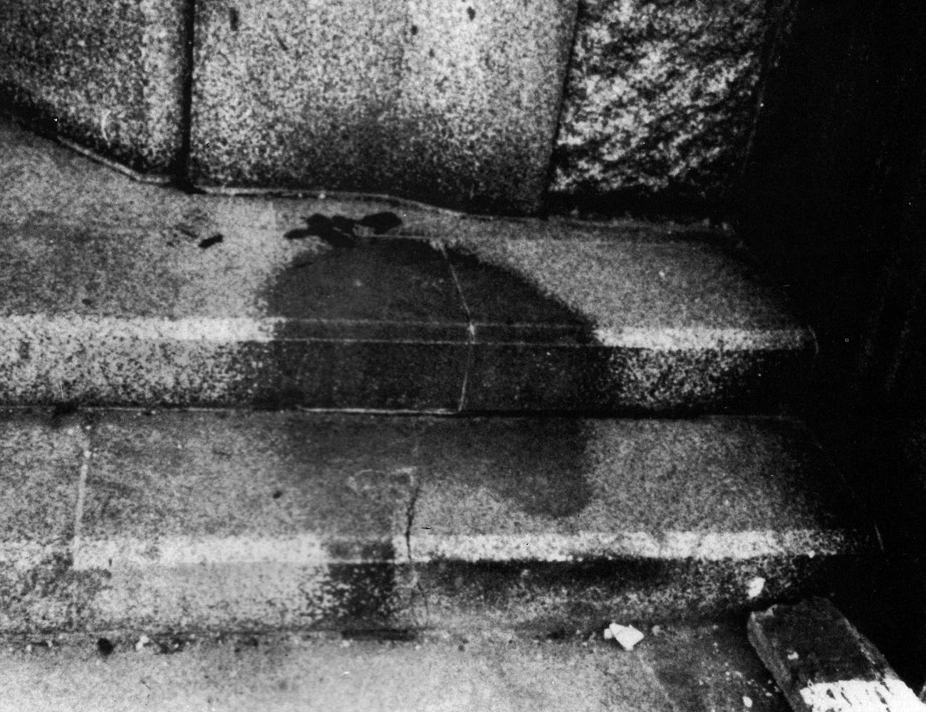 Shadow of a human on stairs. Hiroshima, August 6, 1945
