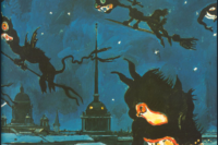 painting of black cats flying on broomsticks over a city at night.
